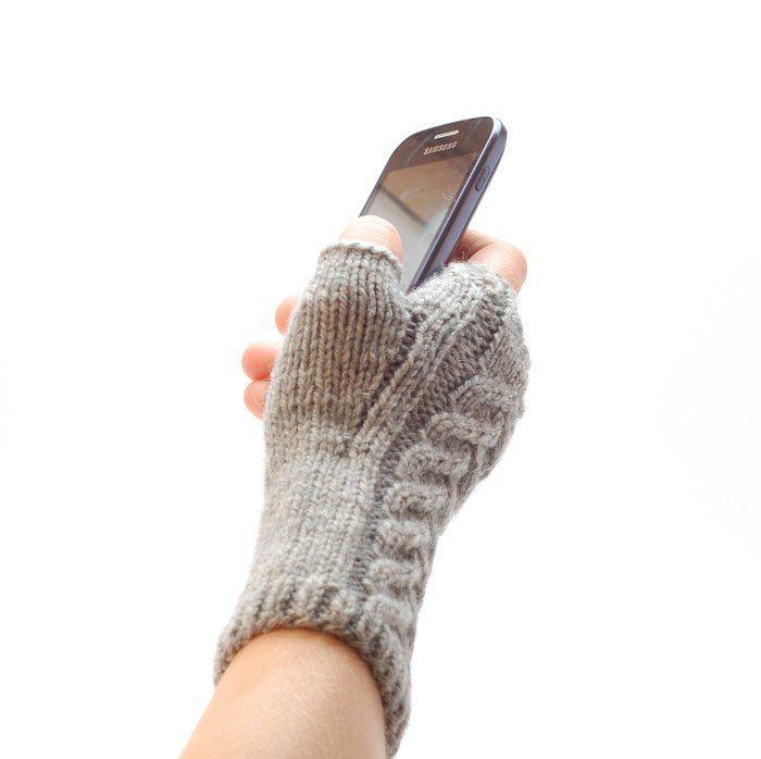 Mens fingerless mittens hand knit Eco gift - Organic merino wool ...