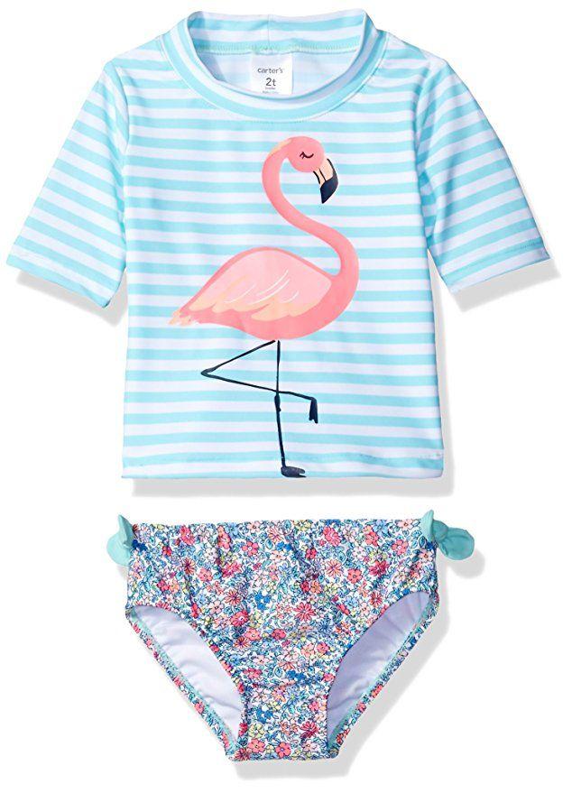 b7ef995d0100e Carter s Little Girls  Short Sleeve Rash Guard Swimsuit Set