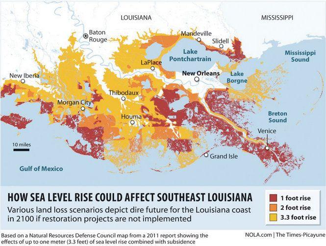 Rising Sea Level Threatens Coastal Restoration New Orleans Levees - Louisiana sea level map