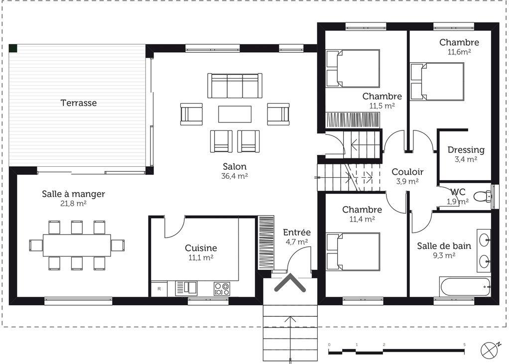 Plan Maison 50m2 Au Sol Maison Design Plan Maison Tage Avec Sous Sol Ooreka 1022 X 731 Pixels Plan Maison Plan Maison Plain Pied Maison Plain Pied