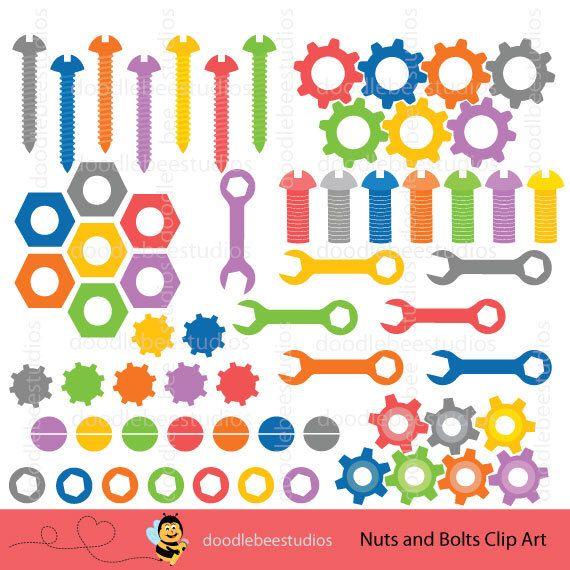 Nuts and Bolts Clipart, Nuts Bolts Clip Art, Digital Nuts and Bolts - new robot blueprint vector art