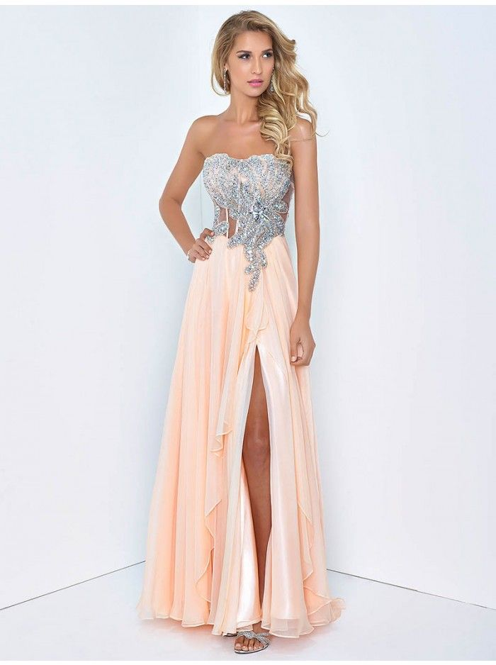 Peach colored homecoming dresses