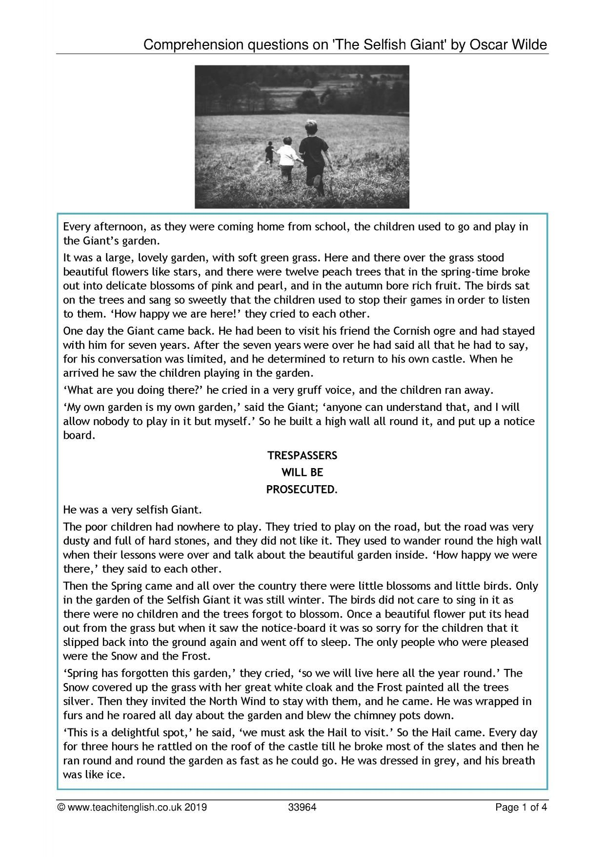 Comprehension Questions On The Selfish Giant By Oscar