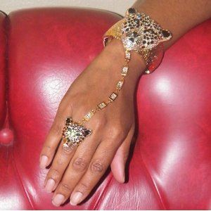 Gold Tone Leopard Rhinestone Ring Attached Bracelet