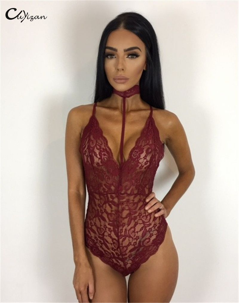 a1782f36f9 Bodysuits 2017 New Rompers Womens Jumpsuit Lace Sexy party backless top  Women Skinny Bodycon outfits Combinaison Femme