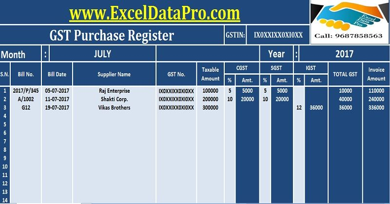 Download GST Purchase Register Excel Template GST Templates - invoice with gst template