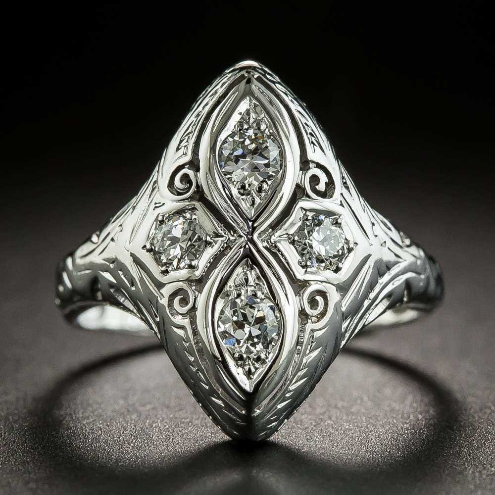 Diestruck and hand finished in gleaming 18K white gold