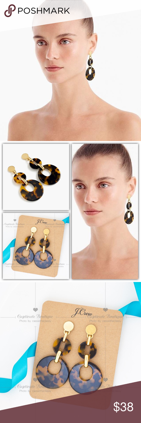J.CREW Tortoiseshell drop-hoop earrings Brand new  A pair of gorgeous, go-with-e…