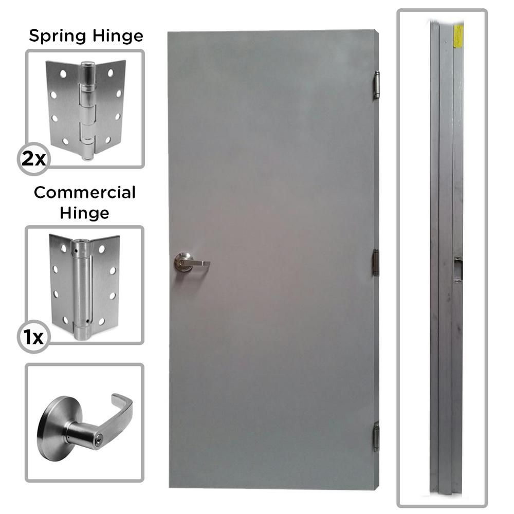 Armor Door 36 in. x 80 in. Fire-Rated Gray Left-Hand Outswing Flush Commercial Steel Door with Knock Down Frame and Hardware  sc 1 st  Pinterest & Armor Door 36 in. x 80 in. Fire-Rated Gray Left-Hand Outswing Flush ...