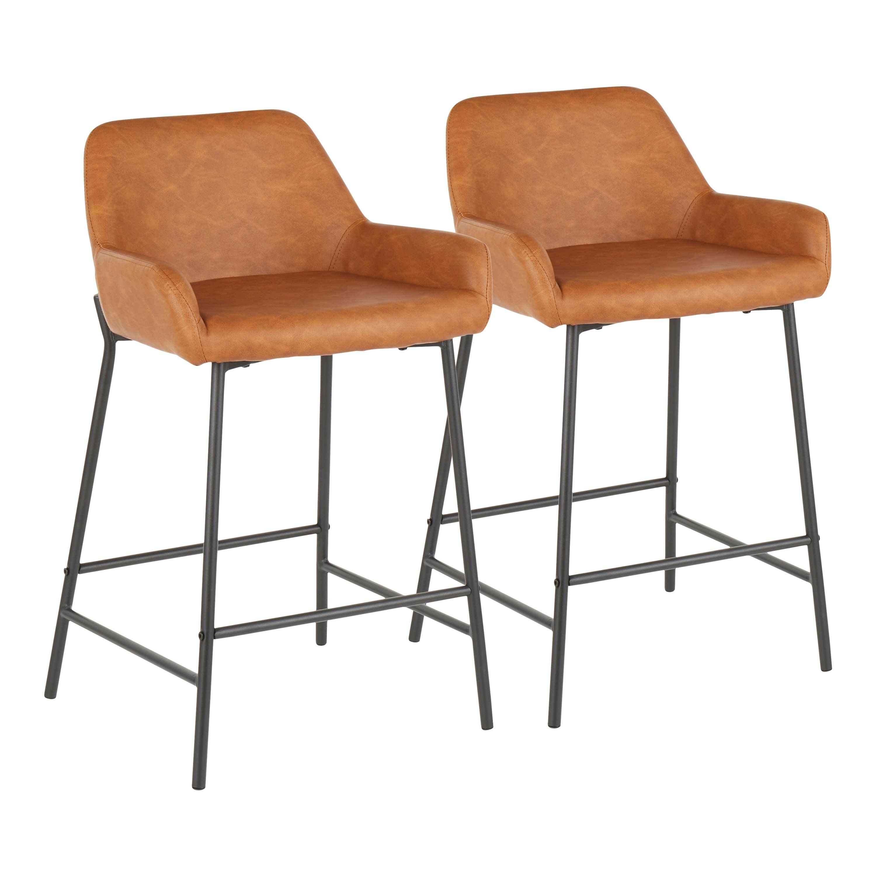 Brown And Black Faux Leather Counter Height Stool Set Of 2