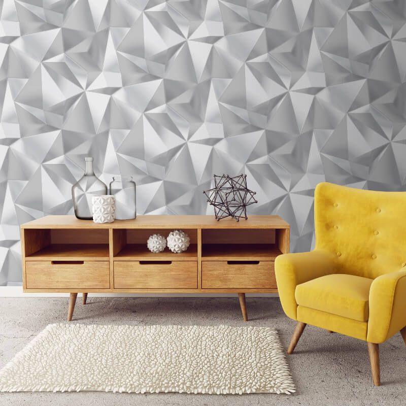 Debona Spectrum 3d Effect Geo Grey Silver Metallic Wallpaper 5020 For Putting Arou Metallic Wallpaper Geometric Triangle Wallpaper Geometric Wallpaper Decor