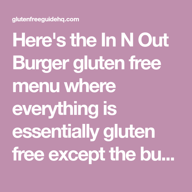 in n out gluten free menu