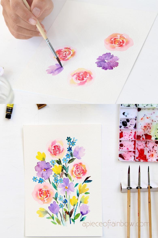 30 Minute Beautiful Watercolor Flower Painting Tutorial Loose Watercolor Flowers Flower Painting Watercolor Flowers Tutorial