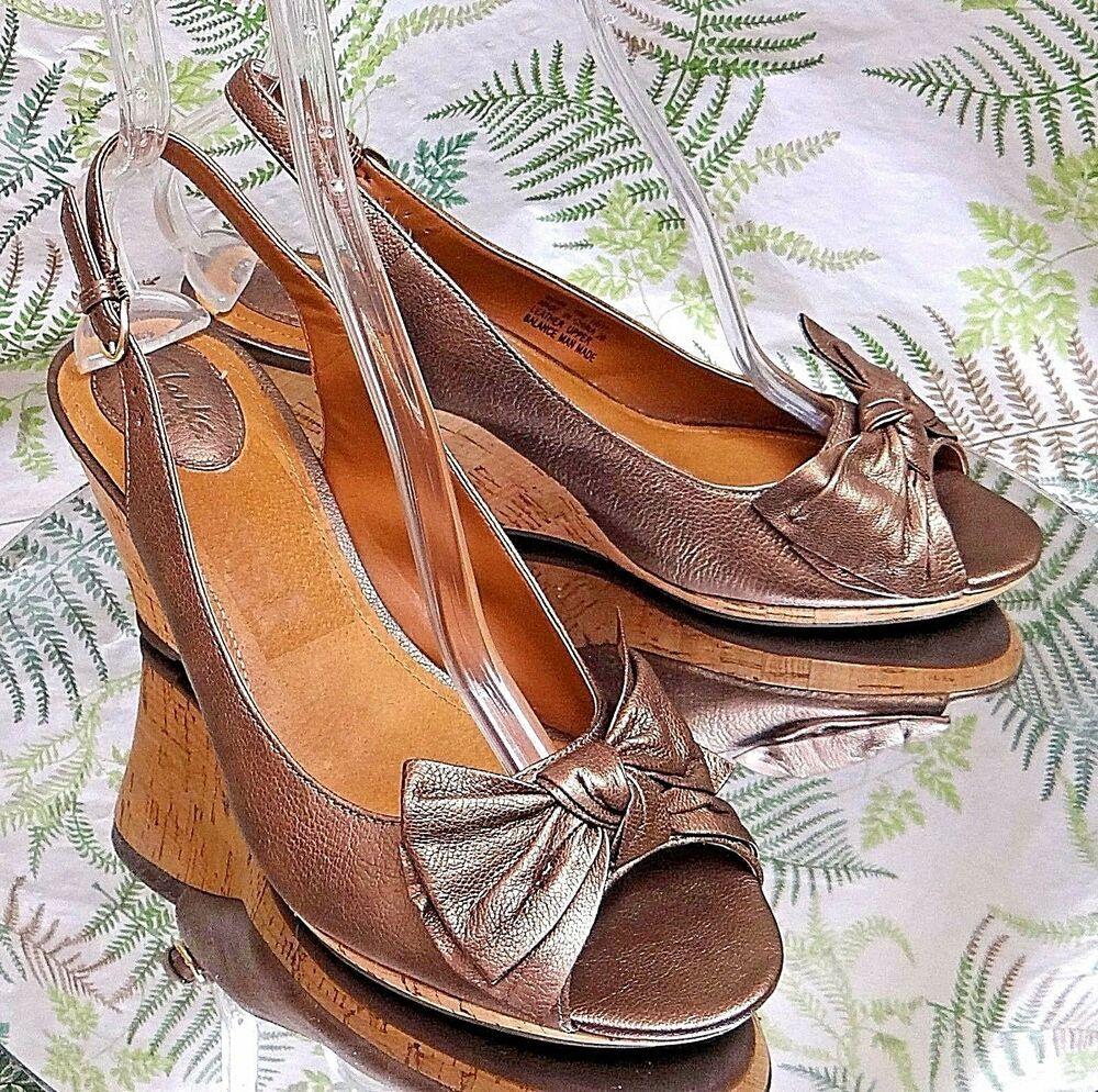 Clarks copper leather slip on sandals slingback dress