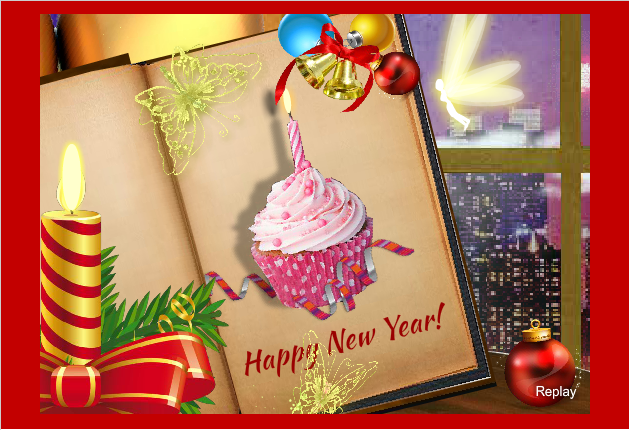 greeting e card for new year 2016