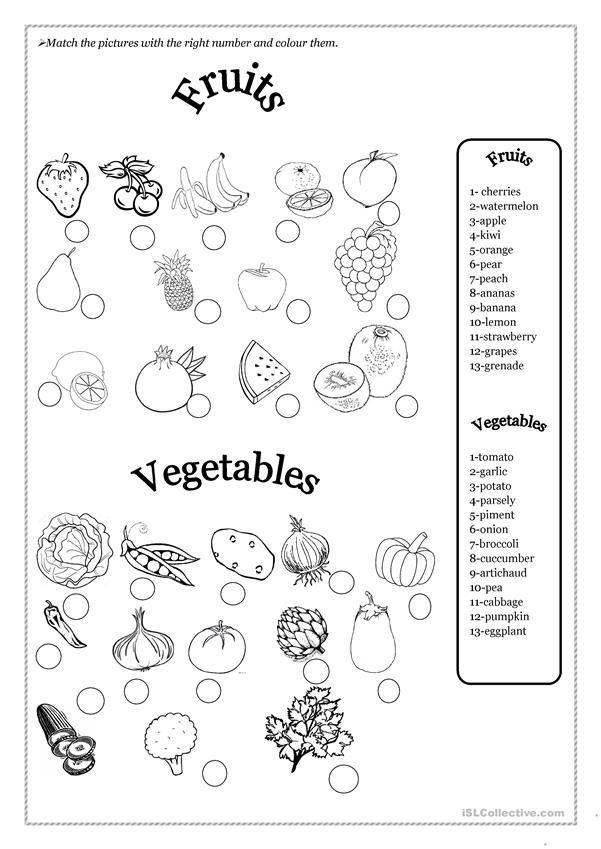 Matching Fruits And Vegetables Worksheets For Kindergarten