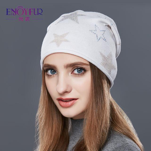ENJOYFUR Fashion Knitted Hat Female Five-Pointed Star Rhinestones Winter  Hats Women Cashmere Beanies New 995511fb150b