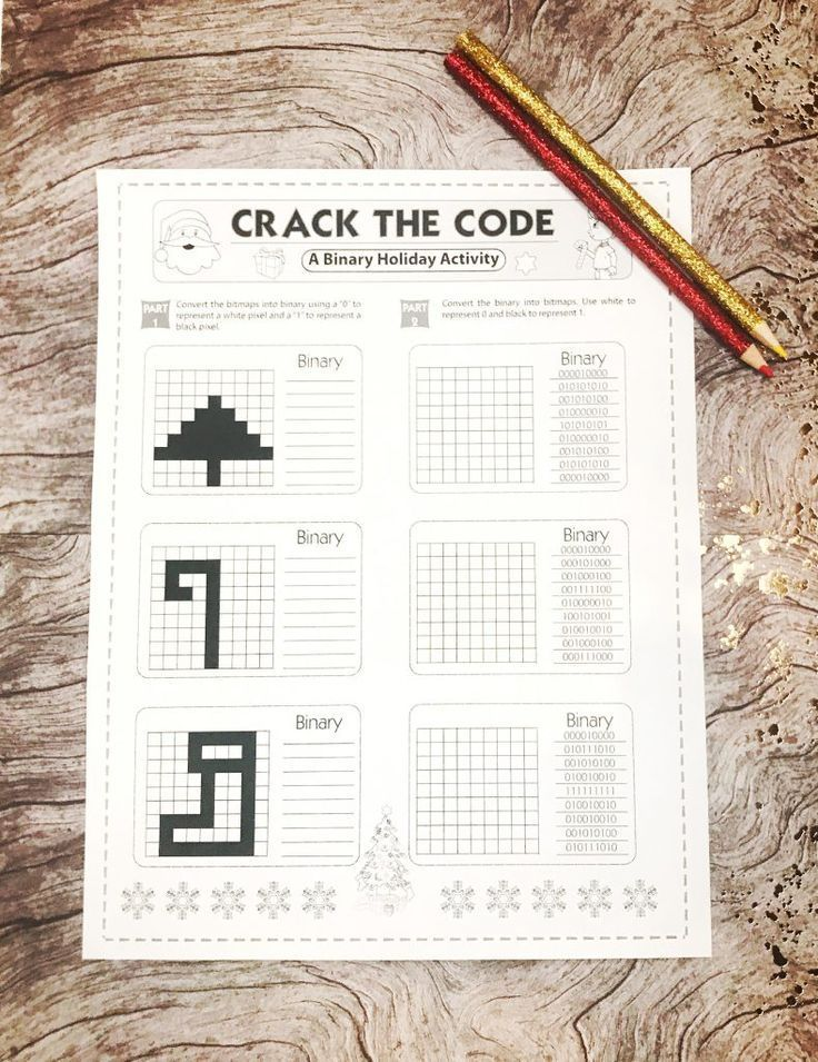 Free binary code worksheet for holidays! Check out this fantastic binary number printed for class ...