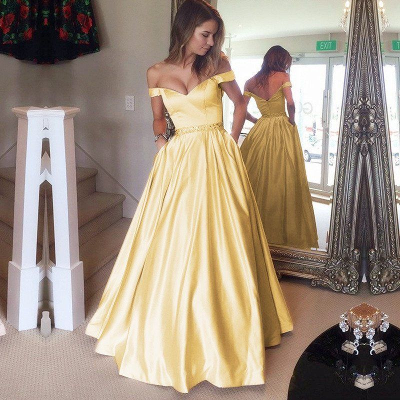Gold Satin V Neck Long Prom Dresses Ball Gowns Off The Shoulder ...
