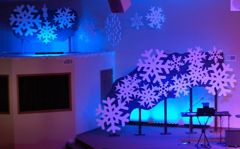 Snowflake stage design   Church   Dark nails, Blue nail