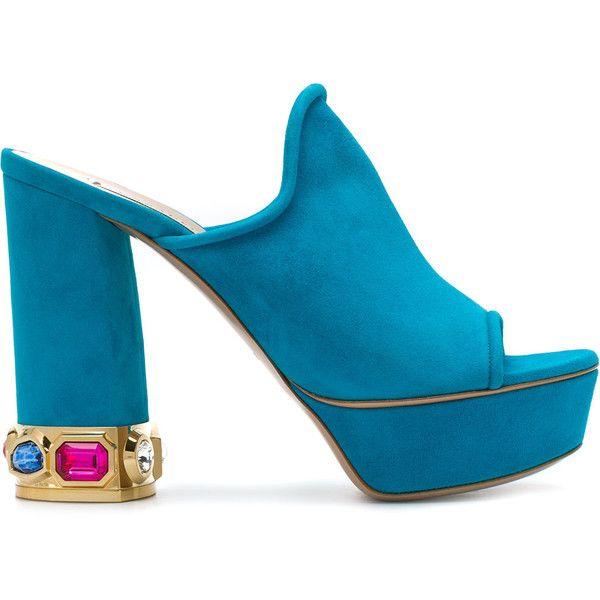 open-toe platform mules - Blue Casadei L6Rhke