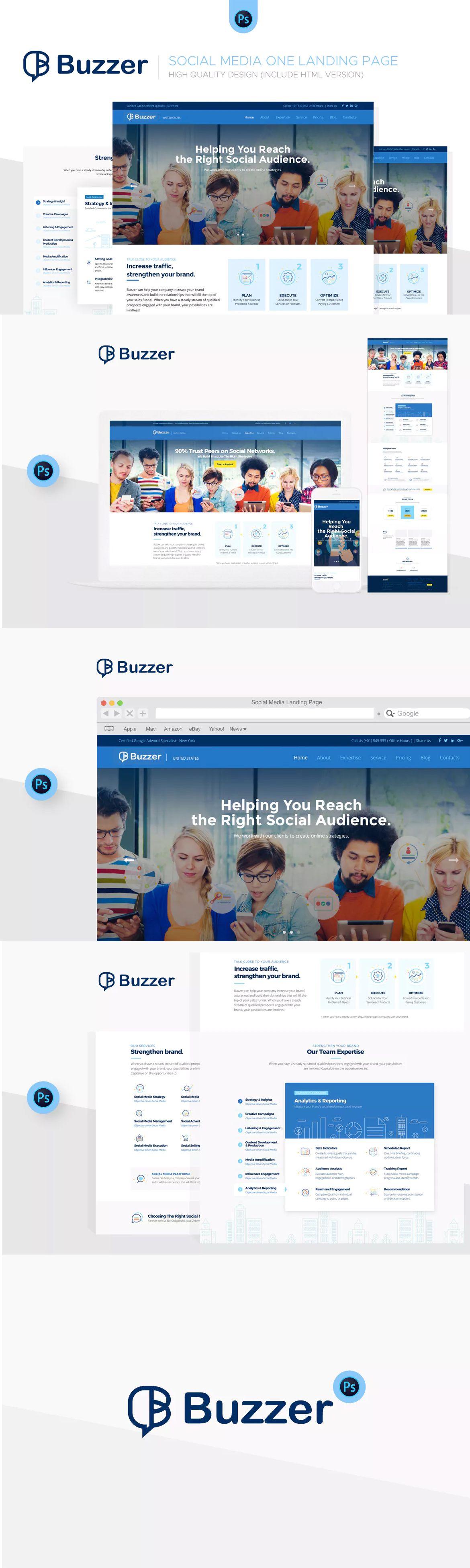 buzzer social media landing page psd html unlimiteddownloads