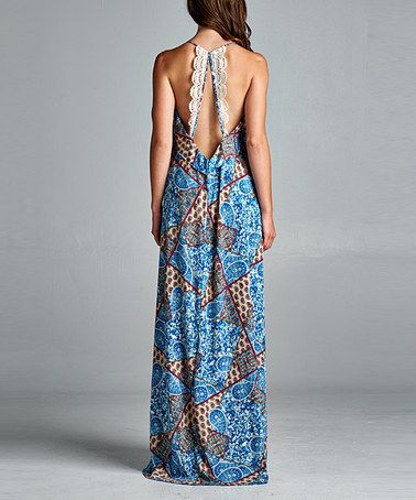 Another great find on #zulily! Blue Paisley Halter Maxi Dress #zulilyfinds