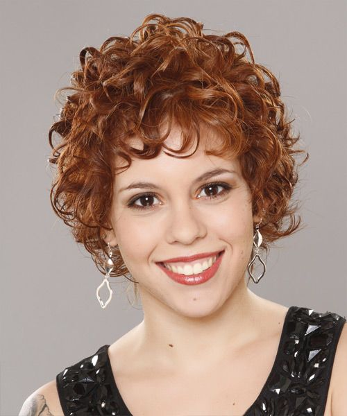 Short Curly Formal Hairstyle with Layered Bangs - Ginger Hair Color ... cab3d9f94