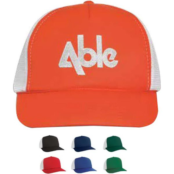 ab71afd2513 Five panel trucker flat bill cap made of 100% polyester with nylon white  mesh back