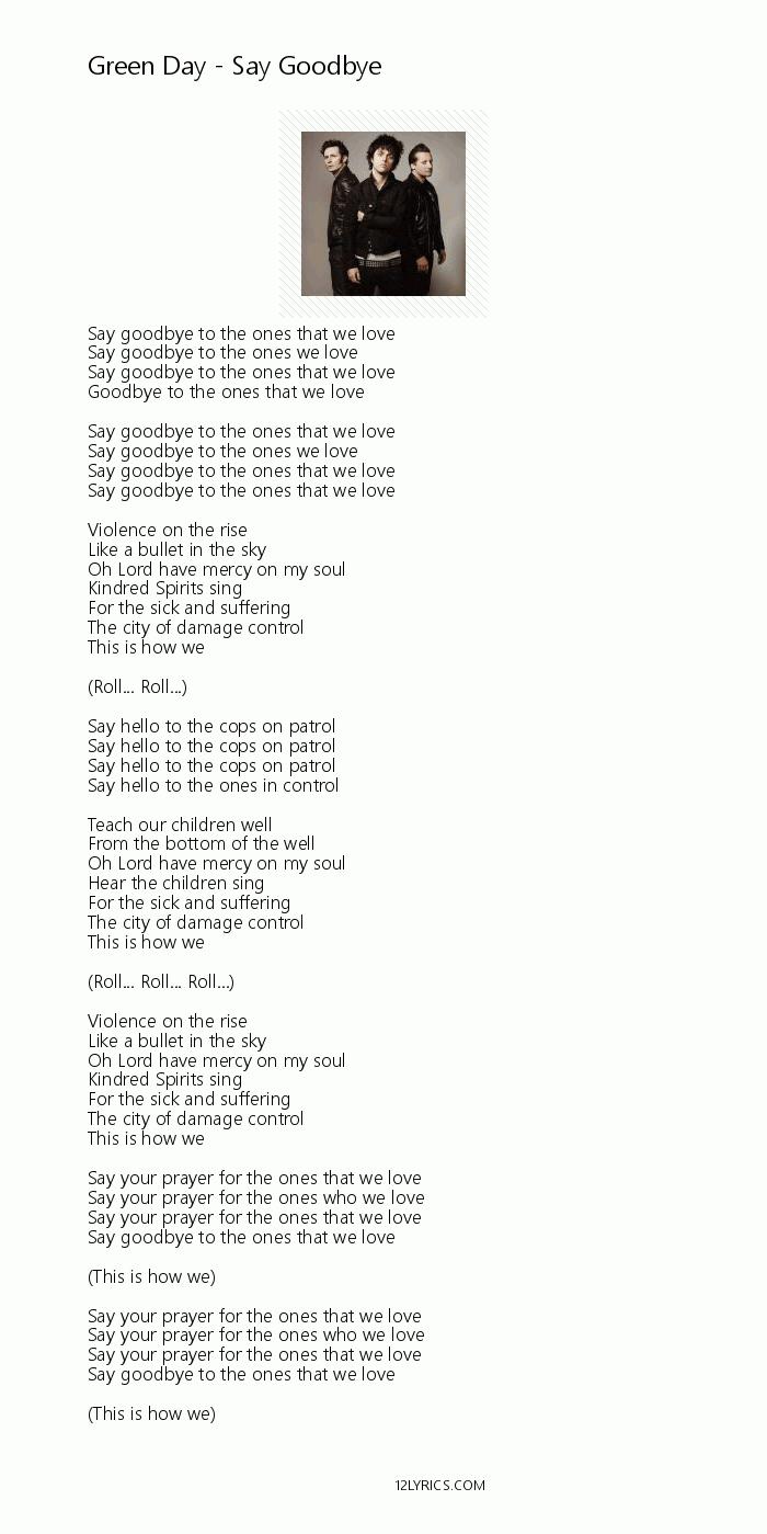 Goodbye when i lyrics say THE BEATLES