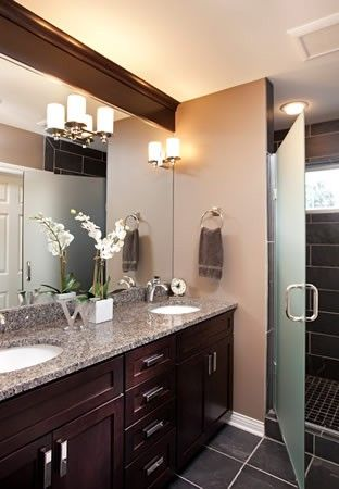 Warm Color Scheme Bathroom With A Pop Of Light From The Chrome Hardware Bathroom