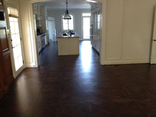 Gourmet Kitchen Custom Stained Parquet Floors | Yelp