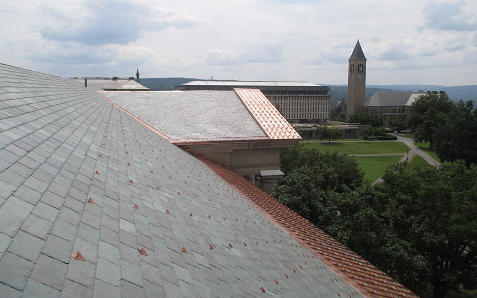 Cornell University Asg33 Standing Seam Snow Guards And Pd10 Pad Style Snow Guards Adorn This Historical Re Roofing Project On Gold Standing Seam Roofing Photo