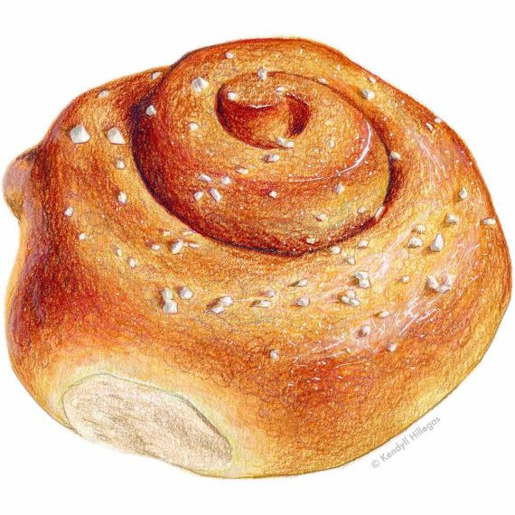 Cinnamon Snail Art Zimtschnecke Illustration // by KendyllHillegas