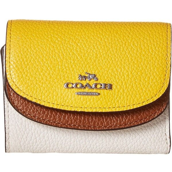 COACH Color Block Double Flap Small Wallet (SV/Canary Multi) ($99) ❤ liked on Polyvore featuring bags, wallets, trifold wallet, yellow wallet, pocket wallet, credit card holder wallet and coach wallet
