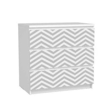 Pack stickers 3 tiroirs malm chevron gris blanc bebe - Ikea stickers chambre ...