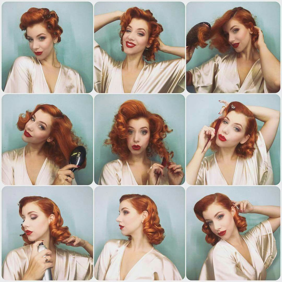 Easy Pin Curl Set For Retro Waves Popular Vintage In 2020 Vintage Hairstyles 1940s Hairstyles Rockabilly Hair