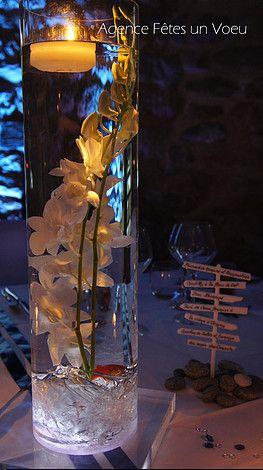 D coration de mariage fleurs immerg es vase haut for Deco bocal poisson