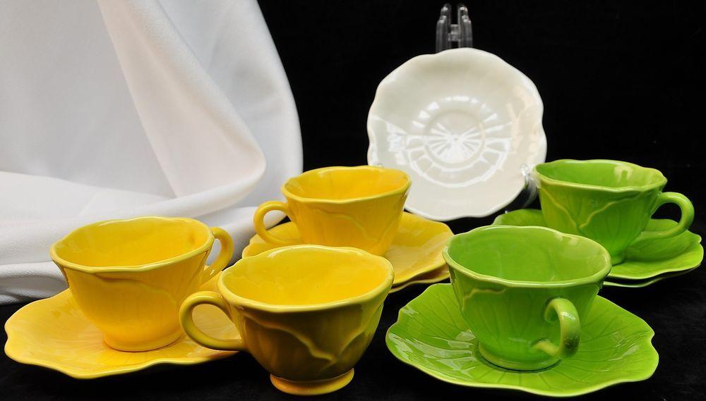 12 Piece Metlox Lotus Cup & Saucer - Vibrant Green and Sunshine Yellow