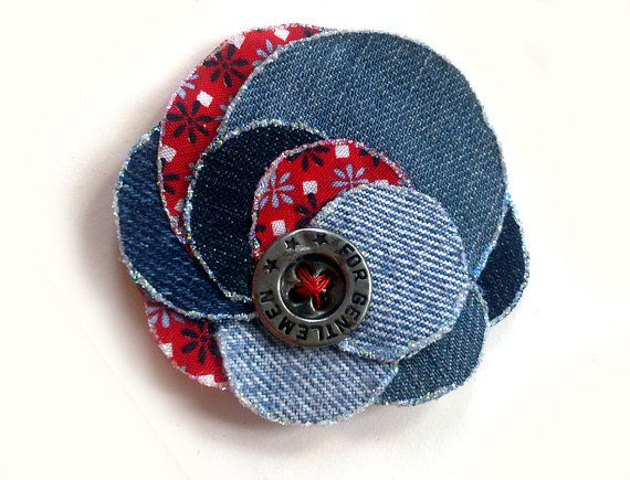 Photo of Handmade flower brooch and hair clip of denim for christmas and holiday fashion, gift, hair accessory, shabby chic, upcycling
