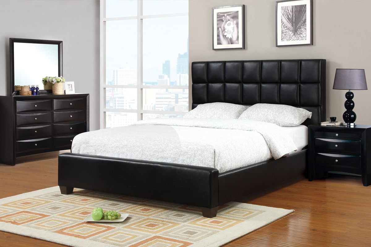This queen bed boasts of a black faux leather, low profile
