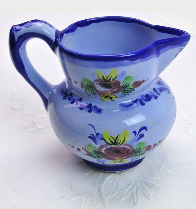 Blue Ceramic Pitcher Small Pitcher Vase Vestal Alcobaca Portugal