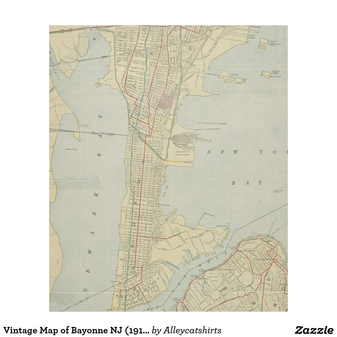 Vintage Map of Bayonne NJ 1912 Fleece Blanket Fleece Blankets