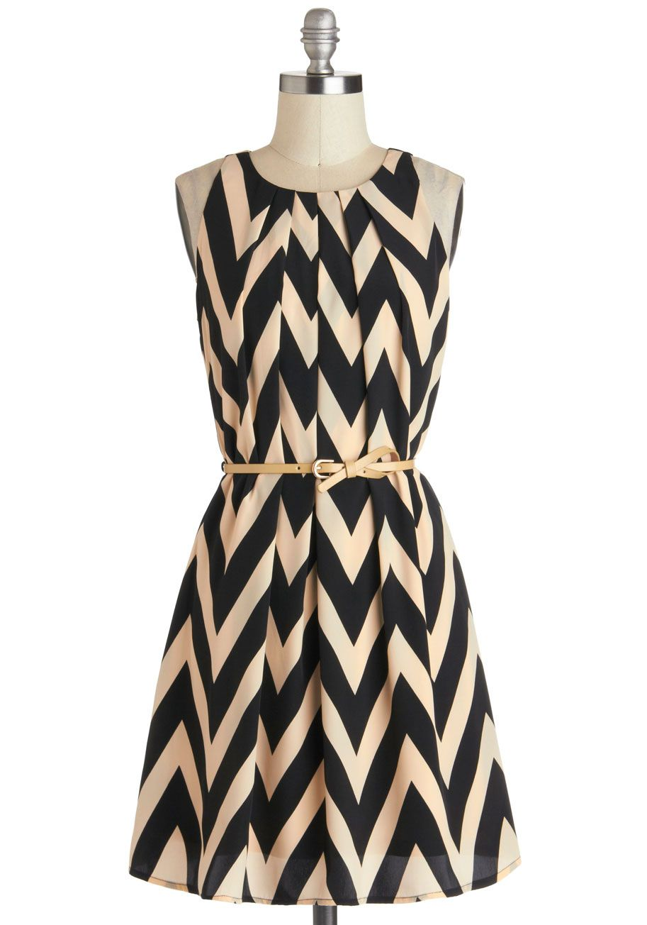 Great Wavelengths Dress - Black, Chevron, Belted, Casual, A-line ...
