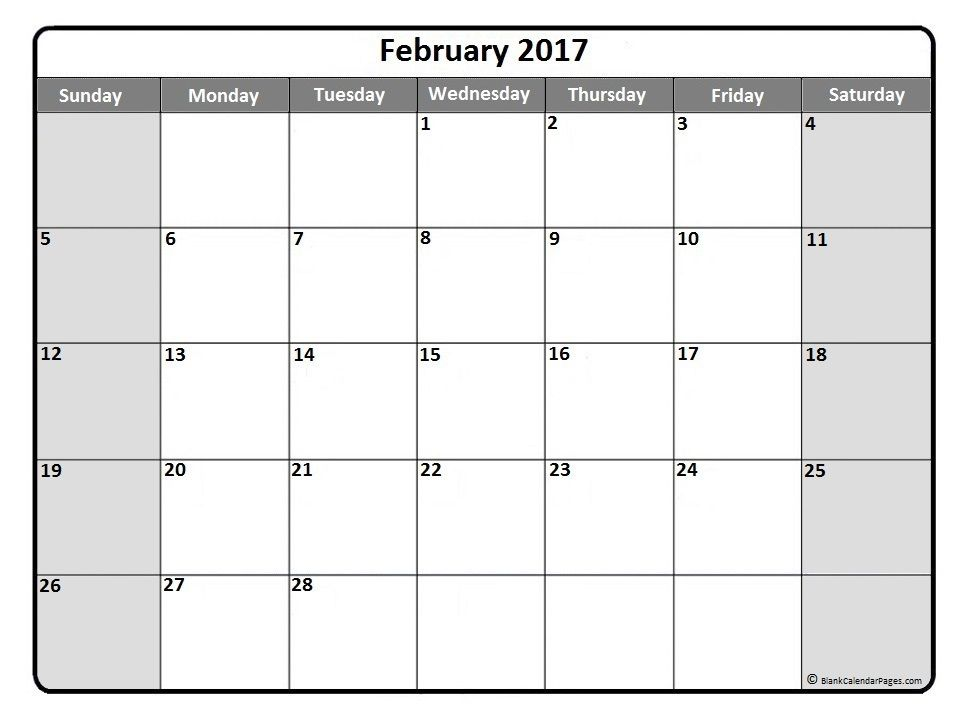 February 2017 Monthly Calendar Printout | 2017 Printable Calendars
