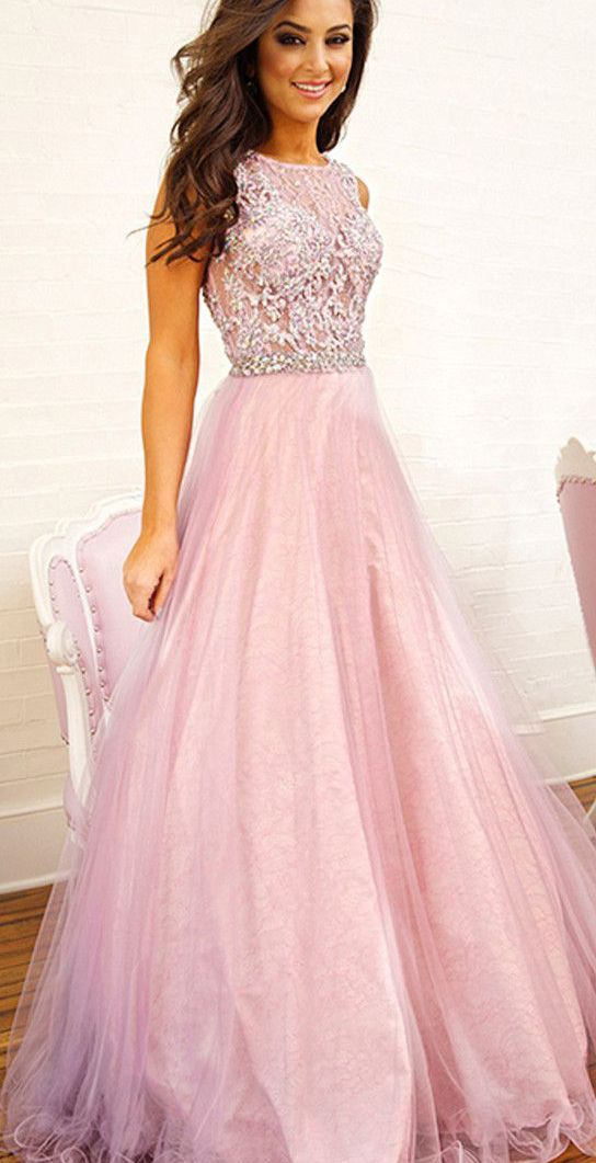 Glamorous Pink Beading Prom Dress,Sexy See Through Evening Dress ...