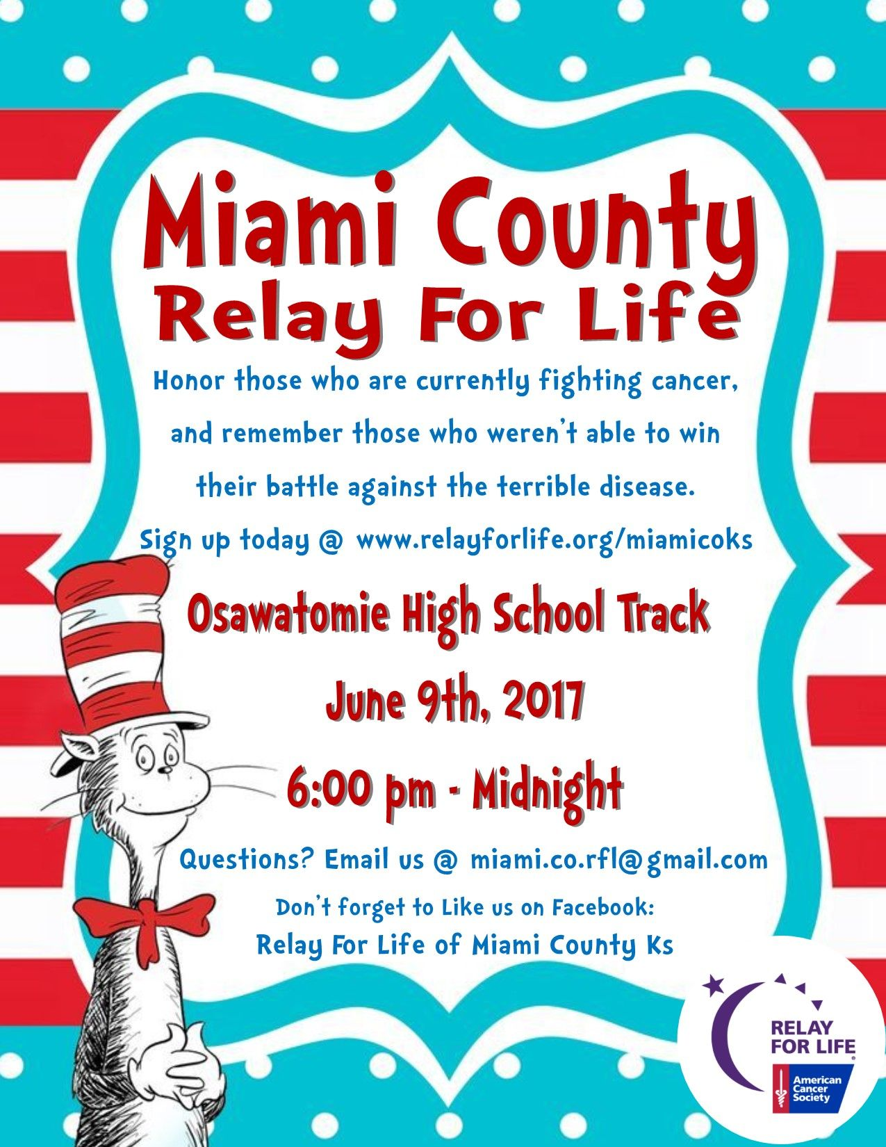 Relay For Life Dr Seuss Flyer Relay For Life Life Relay