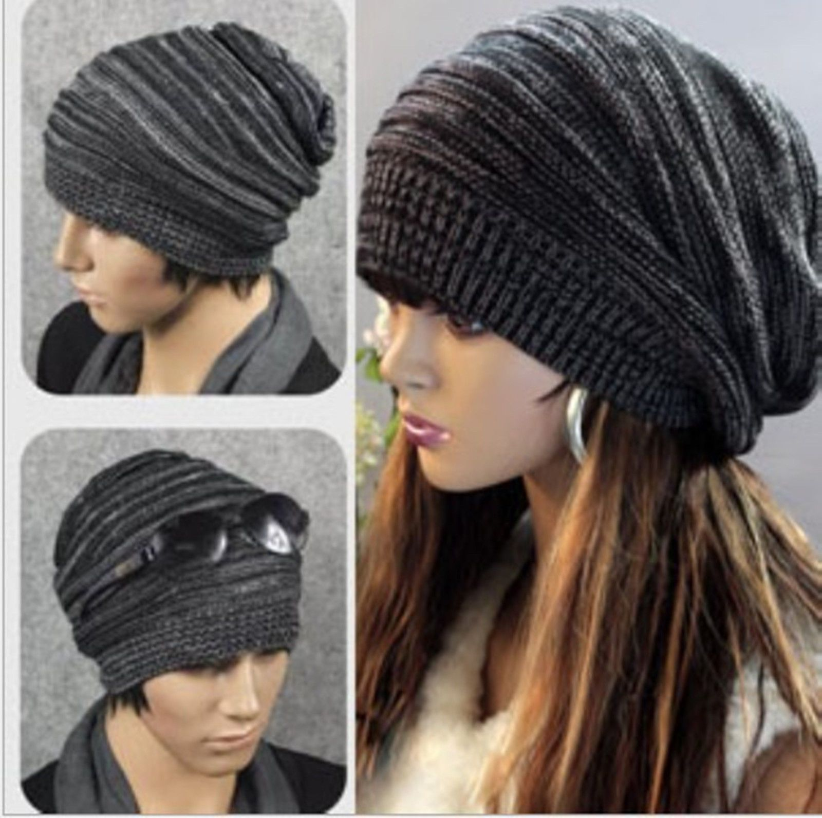 New Unisex Womens Mens Knit Baggy Beanie Hat Winter Warm Oversized Ski Cap  | eBay