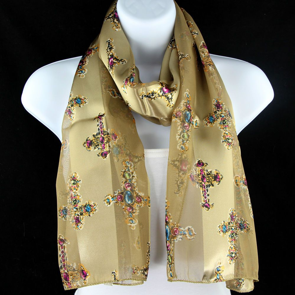 Jeweled cross womens scarf christian religious gift church gold jeweled cross womens scarf christian religious gift church gold scarves new negle Gallery