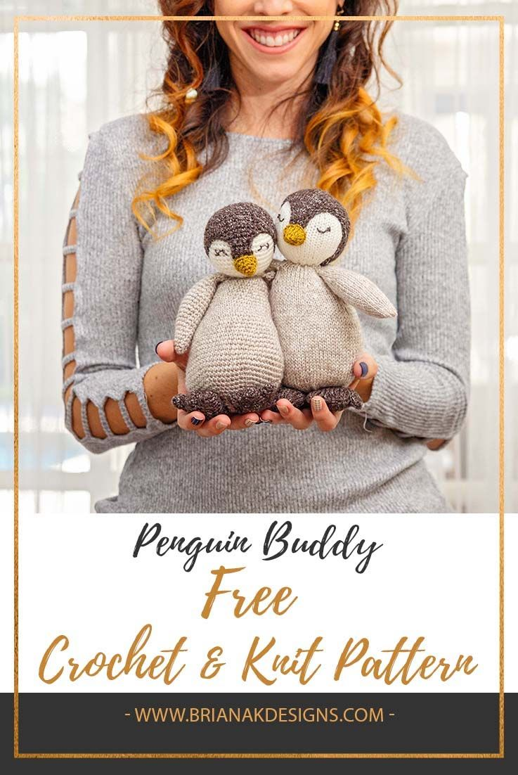 Knit & Crochet Penguin Buddy Pattern #cutecrochet